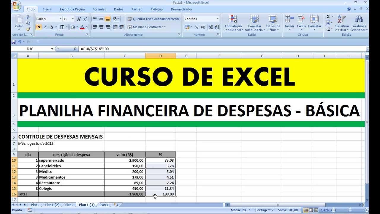 curso de excel planilha financeira de despesas bÁsicas controle