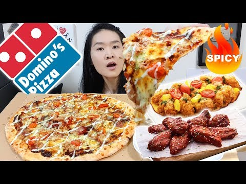 DOMINO'S EXTRA LARGE SPICY TUNA PIZZA!! Crispy Tenders & Daebak Chicken Wings | Eating Show Mukbang