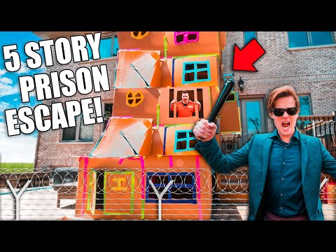 BIGGEST 5 STORY BOX FORT PRISON ESCAPE! 50FT TALL! SNEAKING By COPS