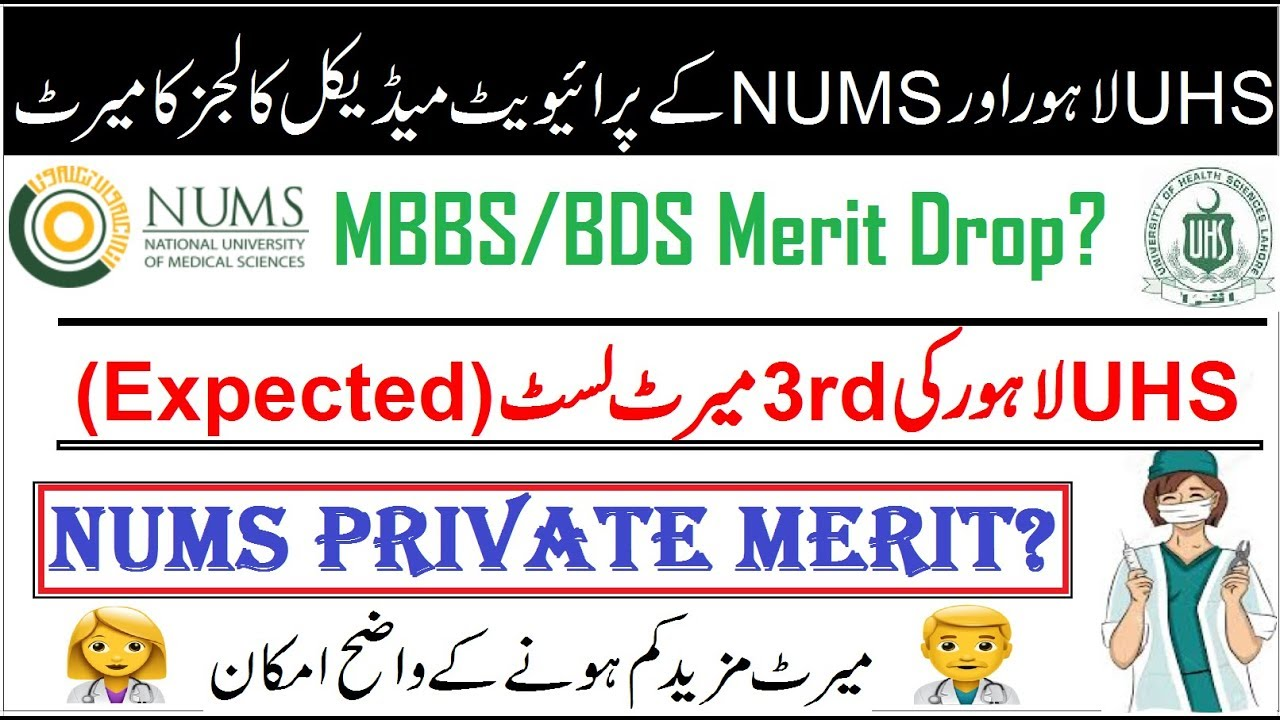 Repeat UHS Lahore 3rd Merit List (Expected) Compare with NUMS