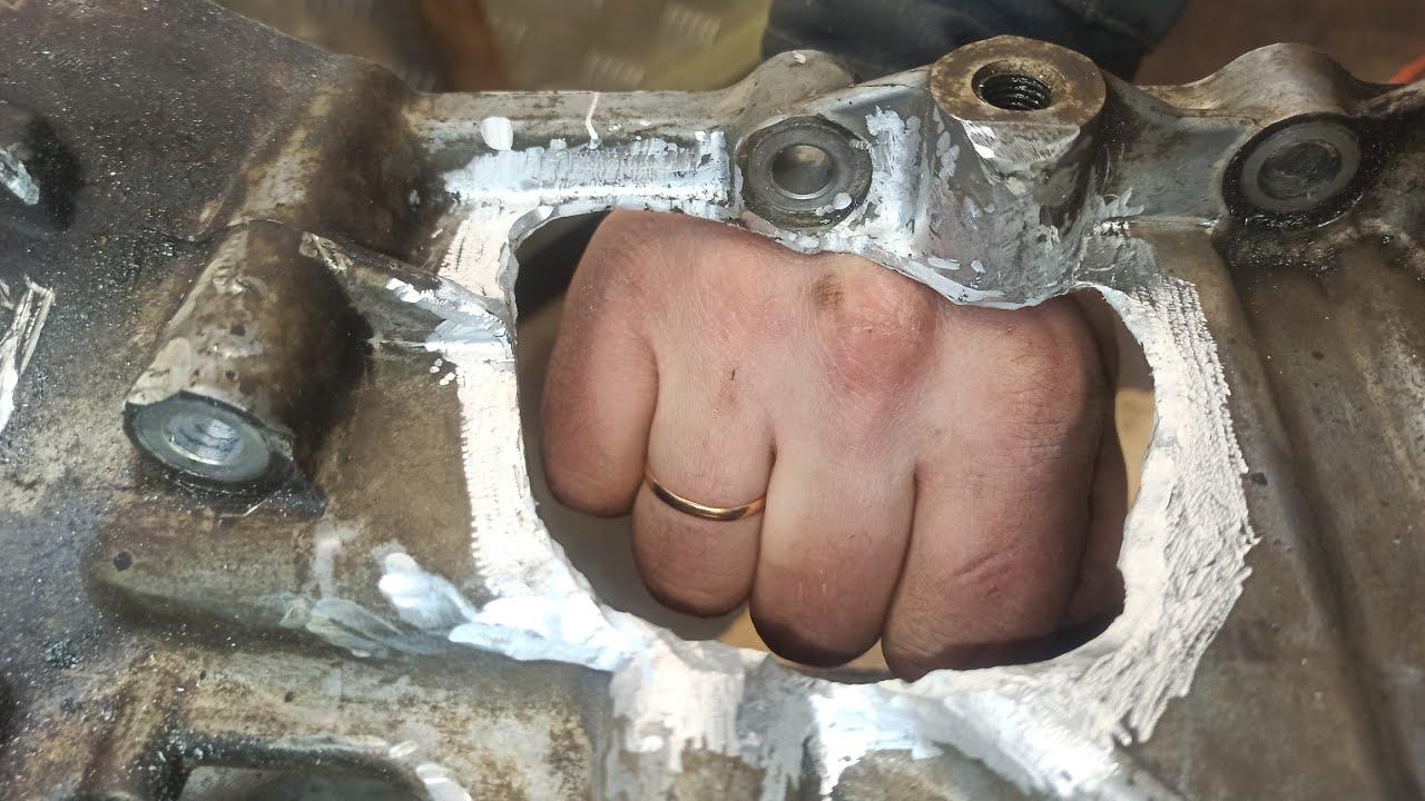 Кулак не дружбы, ремонт алюминиевого поддона Tig! Restoration of aluminum pallet of welding TIG