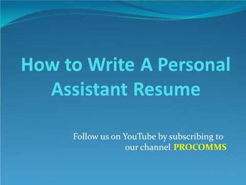 How To Write A Personal Assistant Resume | Personal Assistant Resume ...