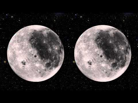 Stereoscopic 3D Rotating Moon (Hans Zimmer version)