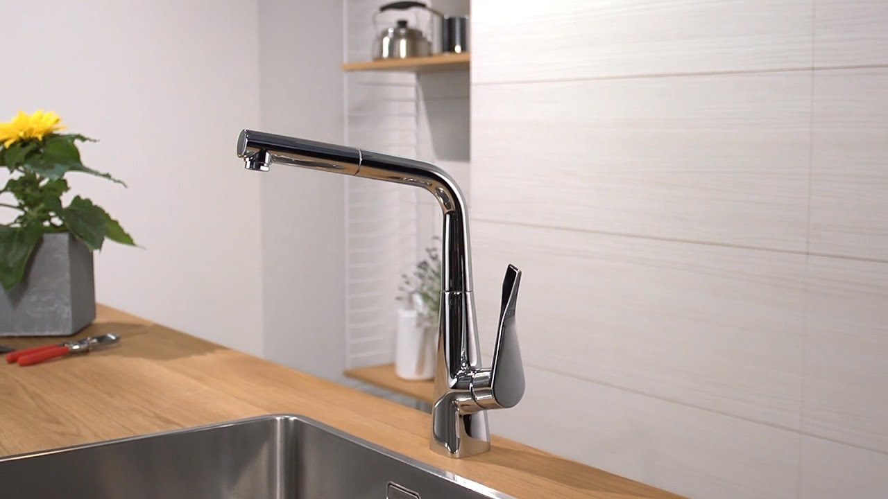 hansgrohe metris single lever kitchen mixer 320 14821000 youtube. Black Bedroom Furniture Sets. Home Design Ideas