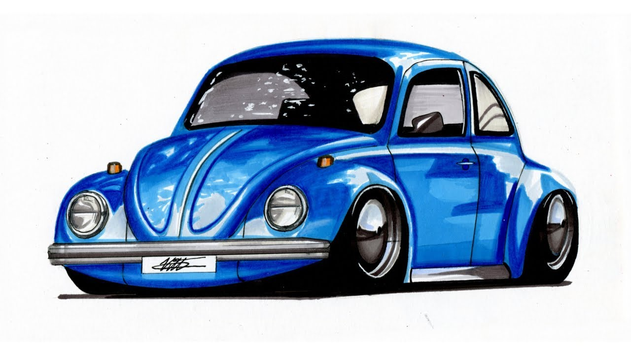 realistic car drawing volkswagen beetle time lapse
