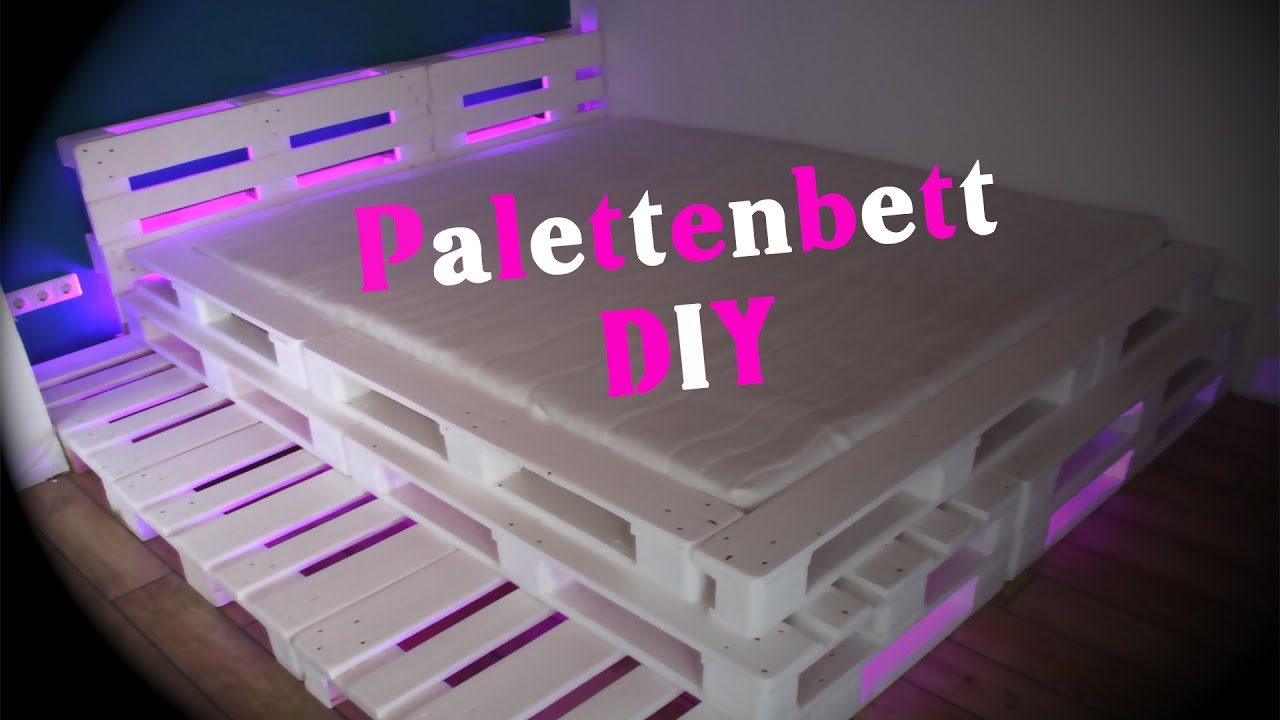palettenbett mit led beleuchtung diy jbtv youtube. Black Bedroom Furniture Sets. Home Design Ideas