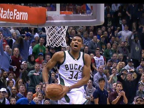 Giannis Antetokounmpo Big Two Hand Windmill On The ...