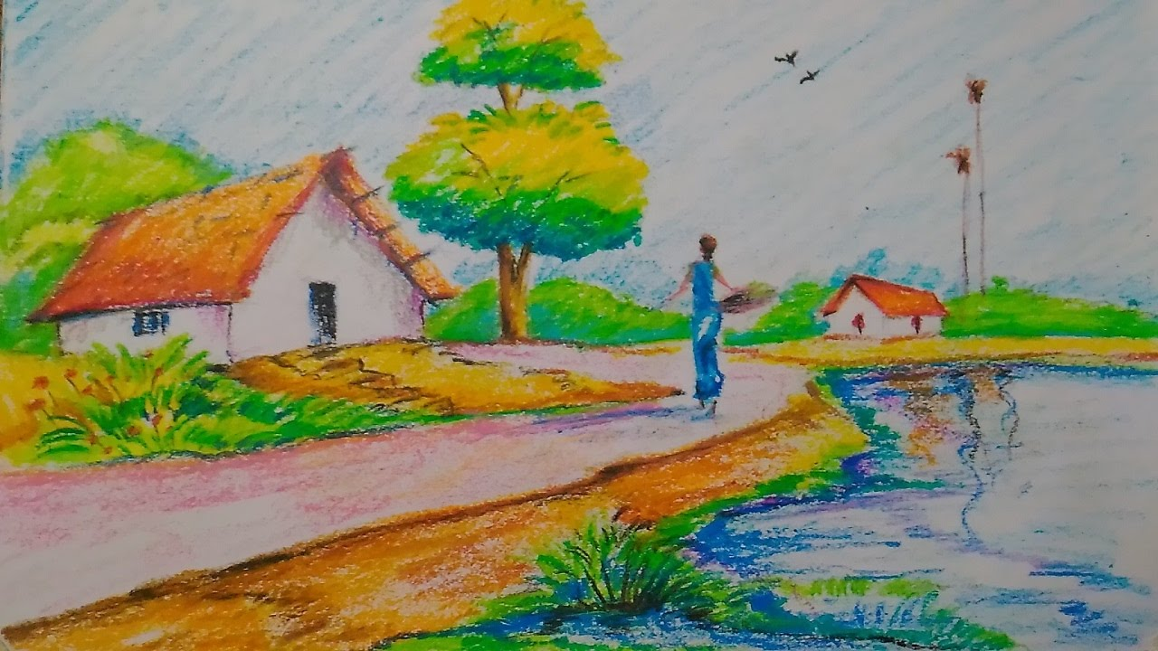 How to draw a village scenery with oil pastel for kids ...