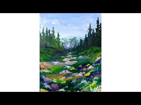 Mountain Meadow Landscape Beginner Acrylic Painting Tutorial