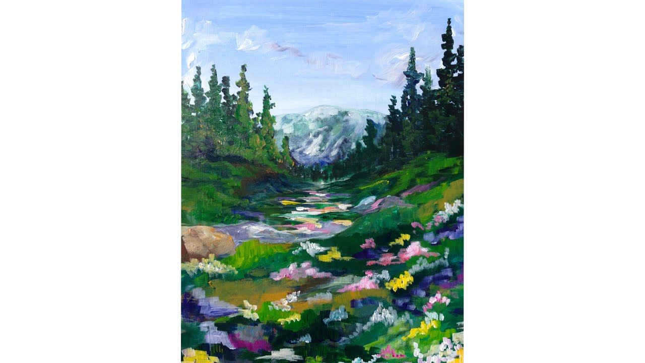 Mountain Meadow Landscape Beginner Acrylic Painting