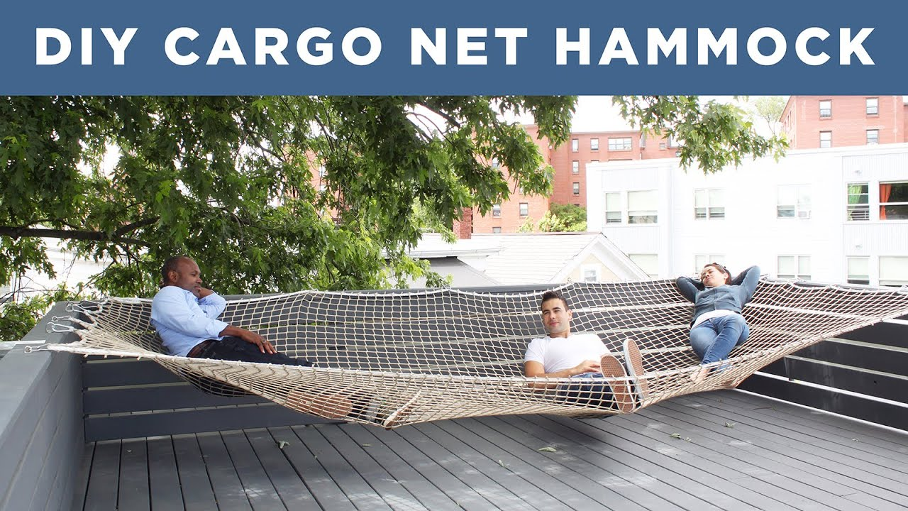 hammock chair stand calgary wave hill diy giant made from a cargo net youtube