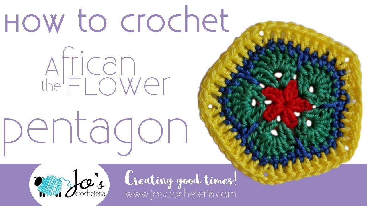 African Flower Written Crochet Pattern : Crochet African Flower ?Pentagon? Video tutorial by Jo s ...