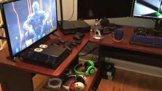 my amazing game room man cave killer rig pc ps4 xbox one led tv triple 4k monitors yeti mic