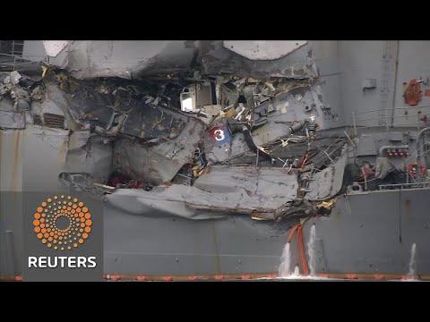 Bodies found on board damaged US destroyer