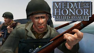 Medal of Honor Allied Assault Gameplay PC - D-Day Omaha Beach Invasion