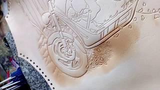 Процесс создания картины на коже , Часть 1