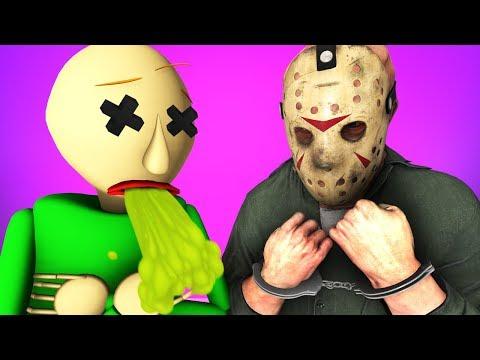 Балди Vs Джейсон Вурхиз 4: Злодей Арестован (Пятница 13 Baldi's Basics хоррор 3D Анимация)
