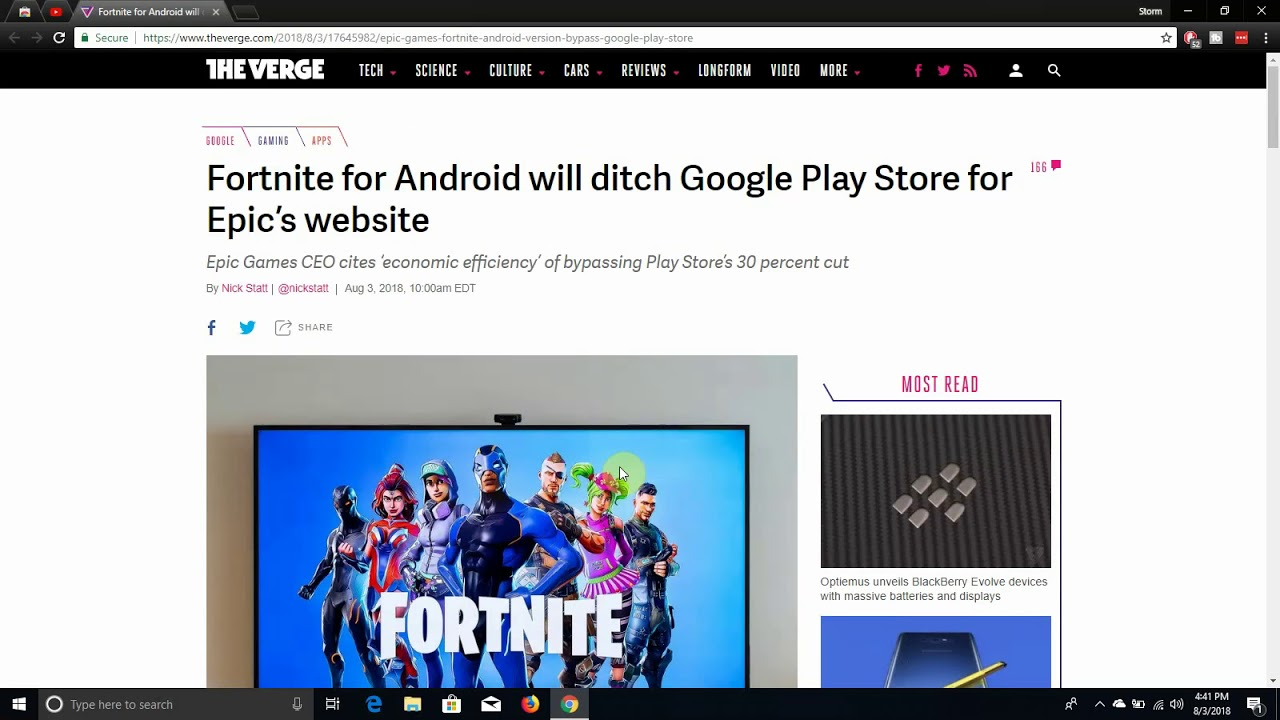 Epic Games Ditches the Play Store to Release Fortnite Android on its Website
