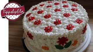 Muttertagstorte  Korb Torte selber machen Anleitung Basket pattern birthday cake (how to)