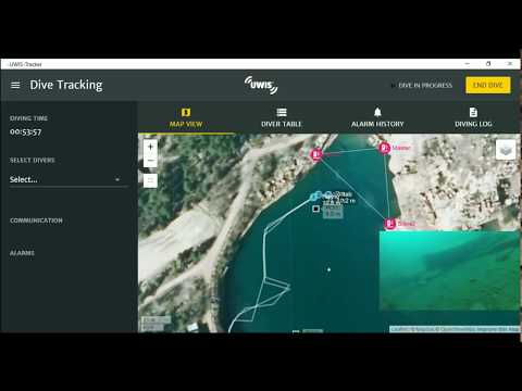 UWIS test dive: Underwater navigation with real time locatio