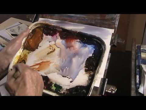 Painting a Scottish loch from a TV programme in watercolour