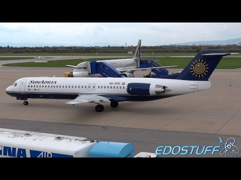 SunAdria (Trade Air) - Fokker 100 9A-BTE - Landing and Takeoff from Zagreb Airport ZAG/LDZA