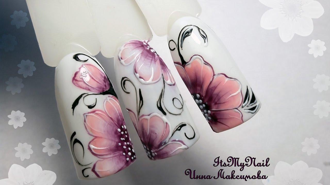 Гель лак цветы на ногтях фото