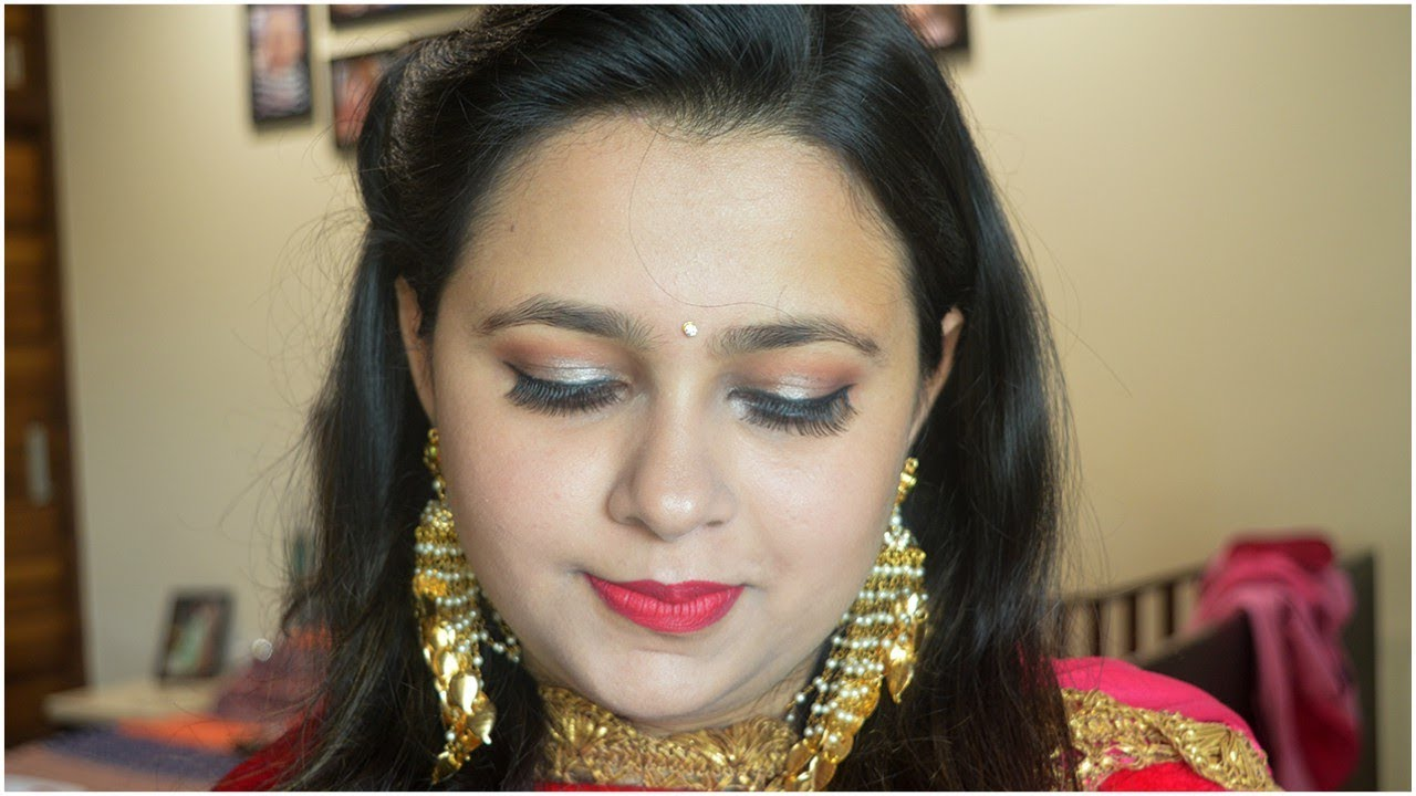 Indian Wedding Guest Makeup At Home In Hindi | Easy Party Makeup And Hairstyle At Home In Hindi ...