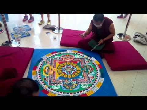 Tibetan monks' sand art at Miami Country Day School