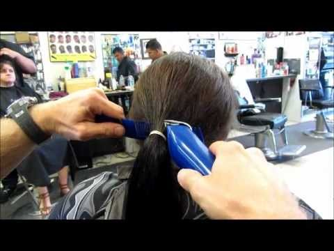 Chop Off 10 inch ponytail into Graduated Bob Clipper
