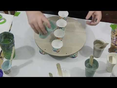 (108) Green Dirty Pour on Wood Circle, Acrylic Pouring video