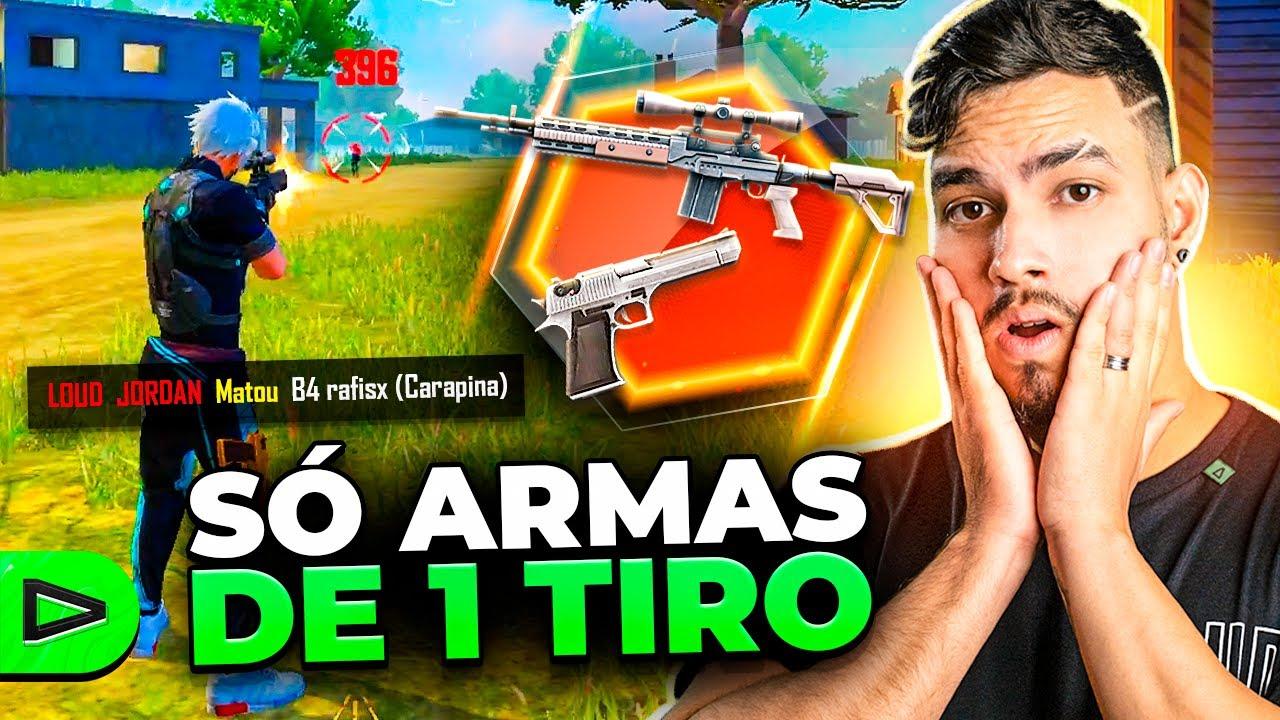 2v2 COM ARMAS DE 1 TIRO NA LOUD FREE FIRE!