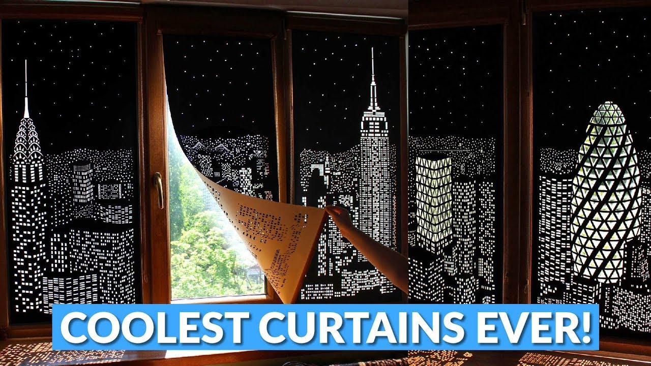 City Landscape Blackout Curtains Hole Cut Design Youtube