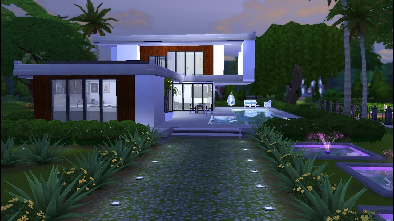 The sims 4 casa moderna modern house download for Casas modernas sims 4 paso a paso