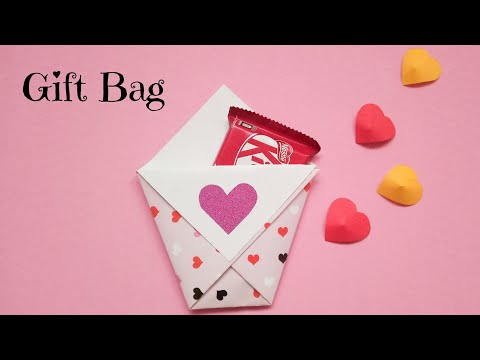 Easy Chocolate Gift Bag | DIY Valentine Day Gift Ideas | DIY Paper Gift Bag Ideas #valentinedaygift