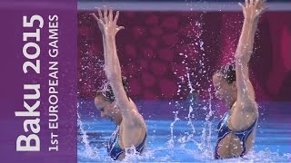 DAY 0 Replay Synchronised Swimming Duet Free Routine | Baku 2015 European Games