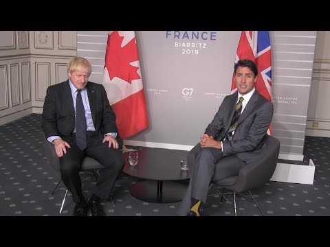 Trudeau meets with British Prime Minister Boris Johnson on the margins of the G7 summit