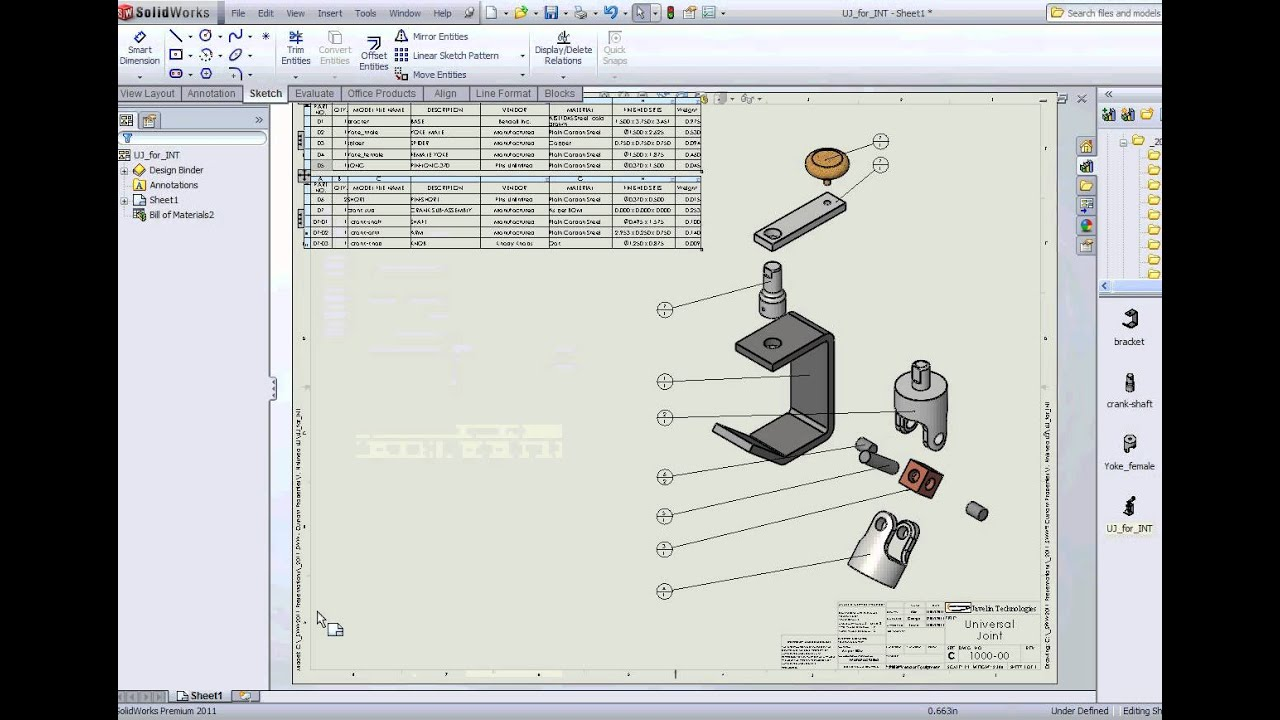 Solidworks Split One Bom On Multiple Sheets Youtube