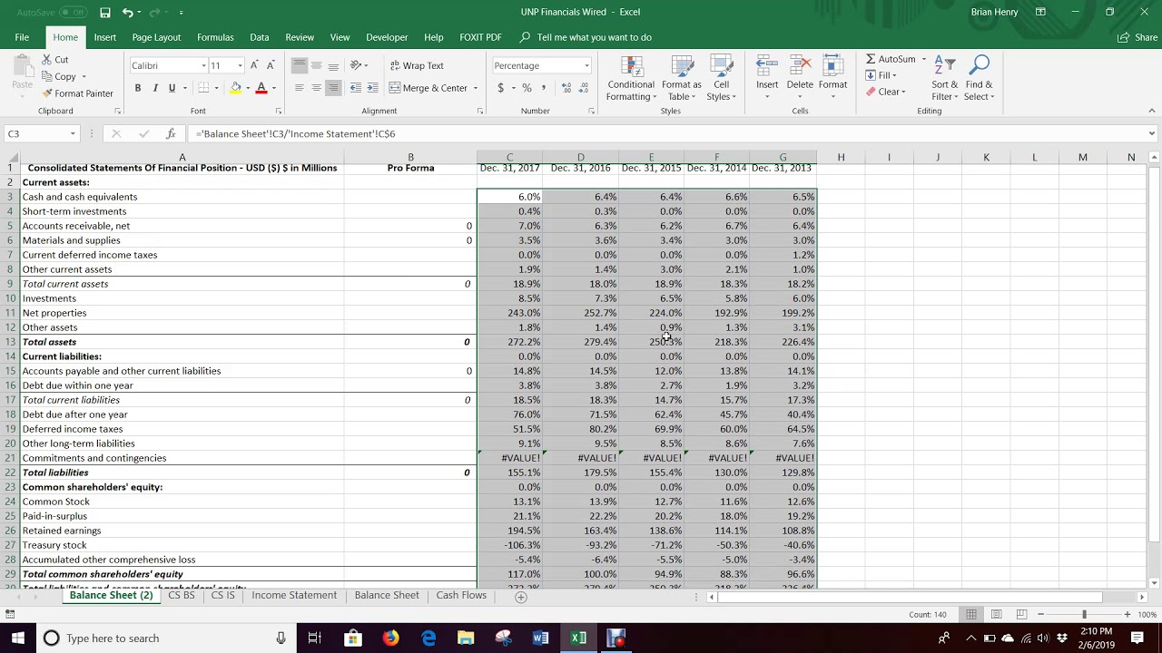 Pro Forma Balance Sheet Percent Of Sales Excel 2016