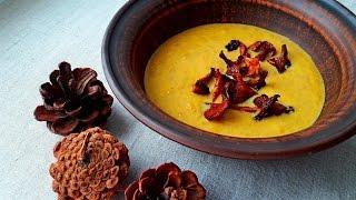 Суп. Крем-Суп из Тыквы с Лисичками. Вкусный Суп. Cream of pumpkin soup with chanterelles