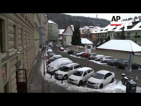 Wintry weather in capital of Czech Republic
