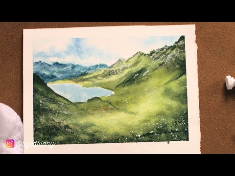 Simple Watercolor painting tutorial of Lake Cadagno in  Switzerland (timelapse)