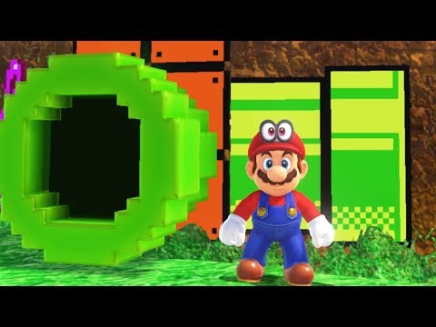 Super Mario Odyssey - All 8-Bit Warp Pipe Locations (2D Mario Sections)