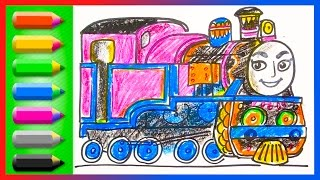 How to Draw Ashima ♦ Thomas and Friends ♦ Drawing and Coloring Lesson for Kids with Trains