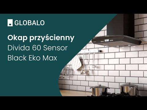 Okap przyścienny GLOBALO Divida 60.3 Sensor Black Eko Max | Ciche i wydajne okapy GLOBALO