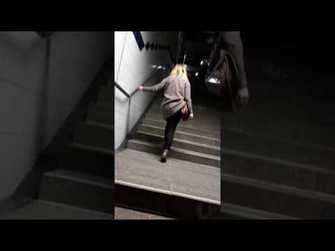Drunk Blond Girl Leaves the Club After Lots of Vodka Shots