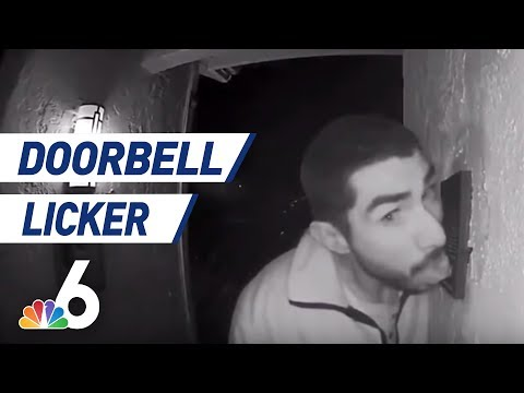 None - Security Video Catches Man Licking Doorbell For 3 Hours