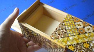 5 Sun 14 Step Yosegi Double Compartment Japanese Puzzle Box