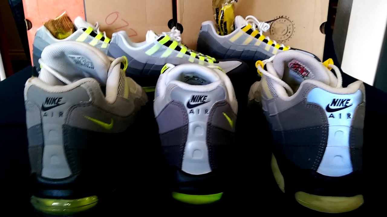 half off 3b6c9 f253b ... where to buy nike air max 95 sc neon 1999 vs 2004 vs 2015 20th  anniversary