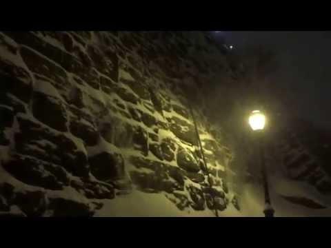 Stroll through Morningside Park, Manhattan, New York during Storm Juno - January 27, 2015